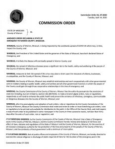 Amended Order Declaring a State of Emergency in Warren County, Missouri